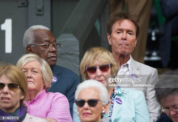 Sir Cliff Richard in attendance with Trevor McDonald at Wimbledon on July 14 2017 in London England