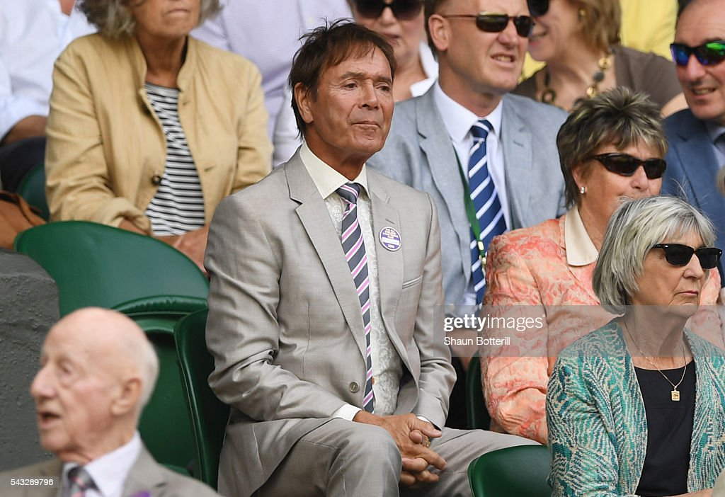 Sir <a gi-track='captionPersonalityLinkClicked' href=/galleries/search?phrase=Cliff+Richard&family=editorial&specificpeople=158267 ng-click='$event.stopPropagation()'>Cliff Richard</a> looks on from the stands in Centre Court on day one of the Wimbledon Lawn Tennis Championships at the All England Lawn Tennis and Croquet Club on June 27th, 2016 in London, England.