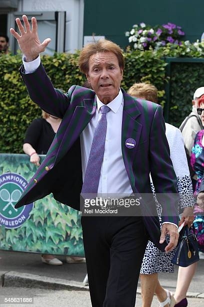 Sir Cliff Richard seen arriving at Wimbledon for Ladies Final Day on July 9 2016 in London England