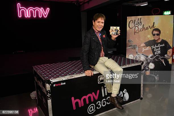 Sir Cliff Richard signs copies of his new album 'Just Fabulous Rock 'n' Roll' at HMV Oxford Street on November 11 2016 in London England The singer...
