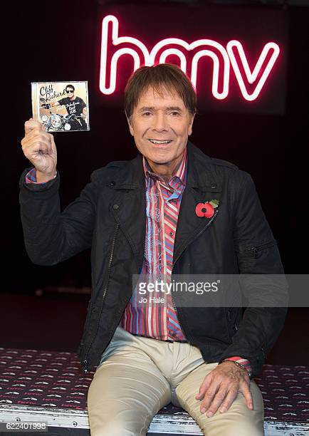 Sir Cliff Richard signs copies of his new album 'Just Fabulous Rock 'n' Roll' at HMV Oxford Street on November 11 2016 in London England