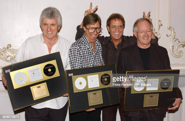 Sir Cliff Richard with the Shadows Bruce Welch Hank B Marvin and Brian Bennett at the London Palladium ahead of their final concert appearance...