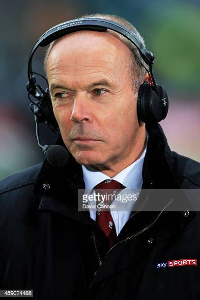 Sir Clive Woodward commentates for Sky Sports during the QBE Intenational match between England and South Africa at Twickenham Stadium on November 15...