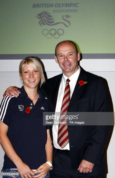 Sir Clive Woodward with golfer Mel Reid after speaking about his vision of the BOA Elite performance programme at the Millbank Tower London