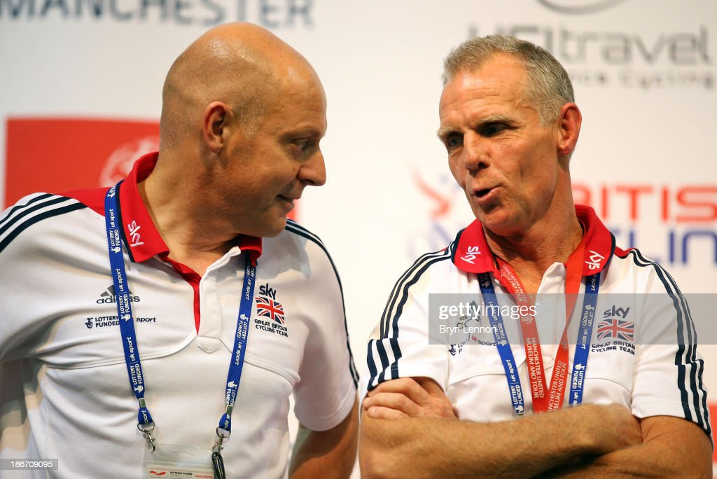 Sir <a gi-track='captionPersonalityLinkClicked' href=/galleries/search?phrase=Dave+Brailsford&family=editorial&specificpeople=3000000 ng-click='$event.stopPropagation()'>Dave Brailsford</a>, British Cycling Perfromance Director speaks with Head Coach <a gi-track='captionPersonalityLinkClicked' href=/galleries/search?phrase=Shane+Sutton&family=editorial&specificpeople=3000462 ng-click='$event.stopPropagation()'>Shane Sutton</a> on day three of the UCI Track Cycling World Cup at Manchester Velodrome on November 3, 2013 in Manchester, England.