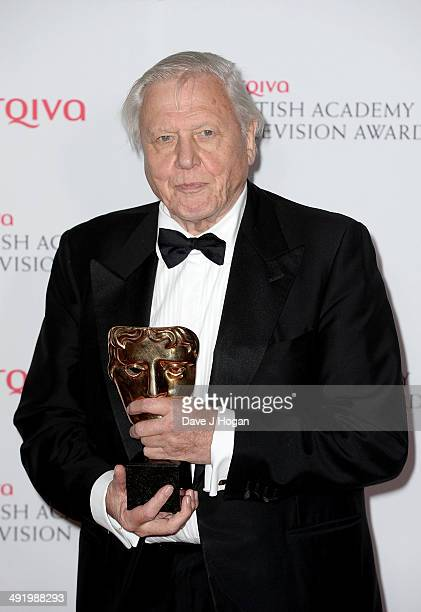 Sir David Attenborough accepts the Specialist Factual award for David Attenborough's Natural History Museum Alive 3D at the Arqiva British Academy...