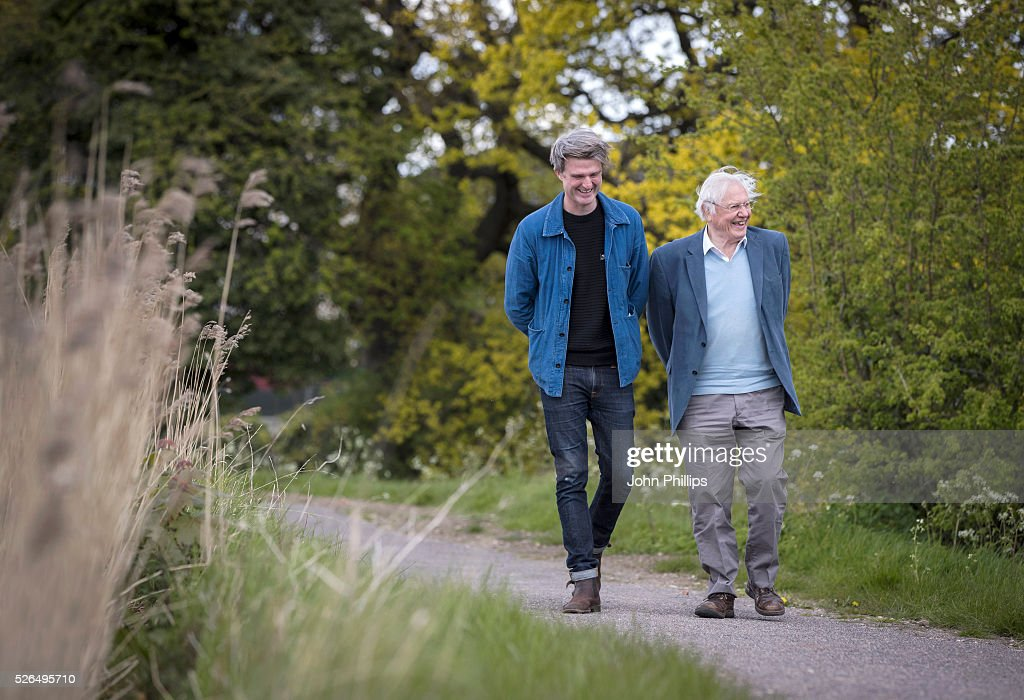 Sir David Attenborough (R) and David Mooney attend the launch of the London Wildlife Trust's new Flagship nature reserve Woodberry Wetlands on April 30, 2016 in London, England.