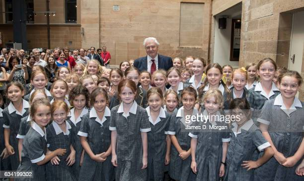 Sir David Attenborough meets school children from Kambala School whilst at the Australian Museum to receive a Lifetime Patron award at a special...