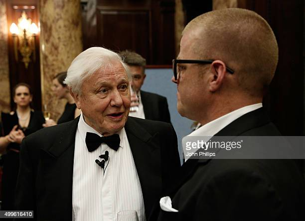 Sir David Attenborough speaks with chef Heston Blumenthal at a special screening of David Attenborough's new series on the Great Barrier Reef hosted...