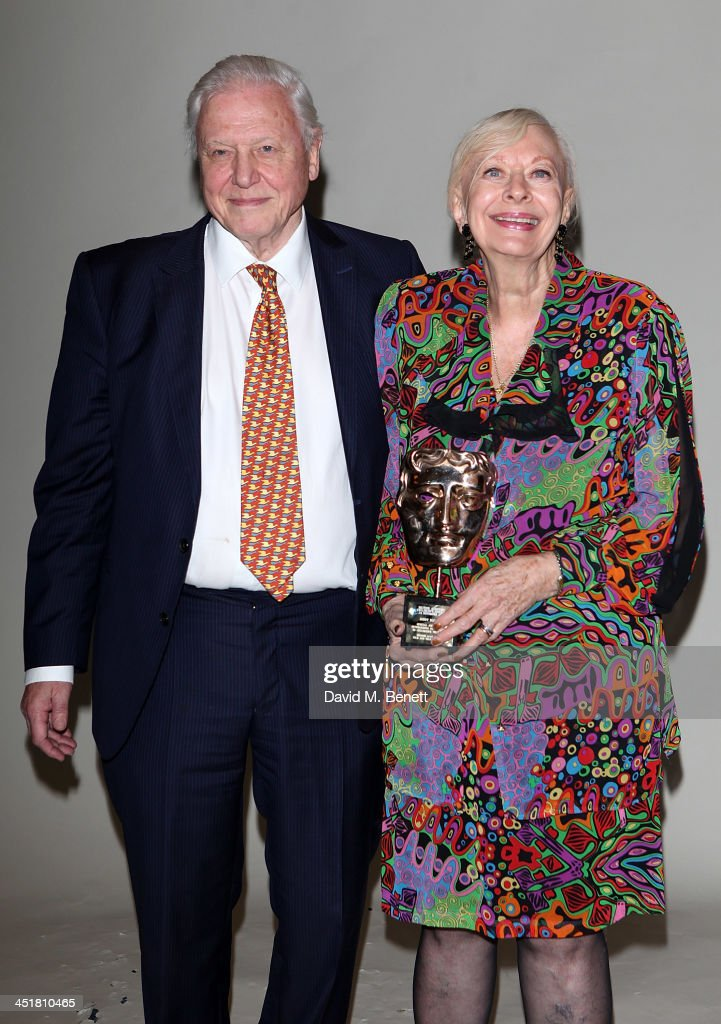 Sir David Attenbrough poses with Biddy Baxter after presenting her with her BAFTA Special Award at the British Academy Children's Awards at the...