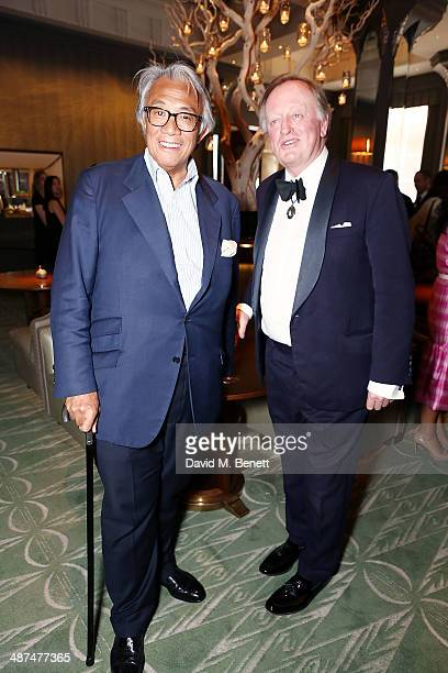 Sir David Tang and Brigadier Andrew Parker Bowles OBE attend the launch of Town Country magazine at Fera at Claridge's Hotel on April 30 2014 in...