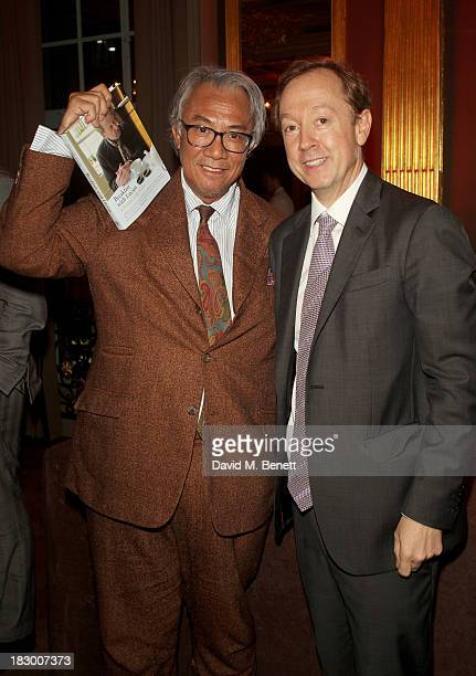 Sir David Tang and Geordie Greig attend the launch of Geordie Greig's new book 'Breakfast With Lucian' on October 3 2013 in London England