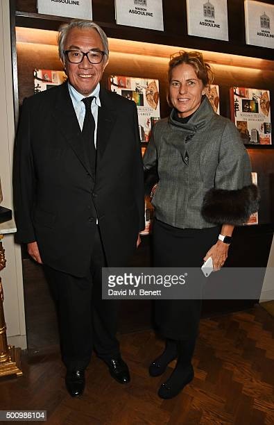 Sir David Tang and Lucy Tang attend a champagne reception to celebrate the launch of 'Mandarin Oriental The Book' by Assouline at Maison Assouline on...