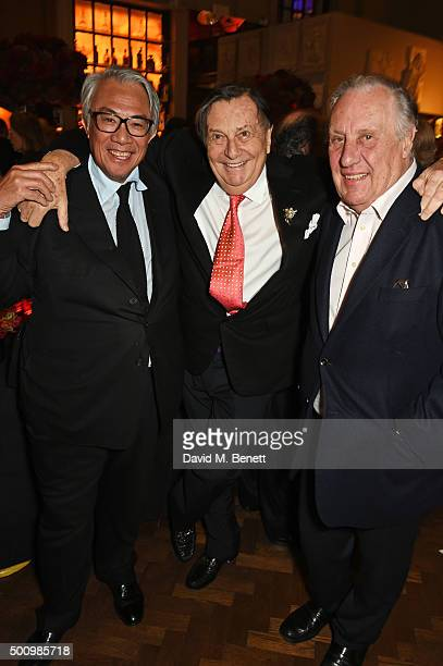 Sir David Tang Barry Humphries and Frederick Forsyth attend a champagne reception to celebrate the launch of 'Mandarin Oriental The Book' by...