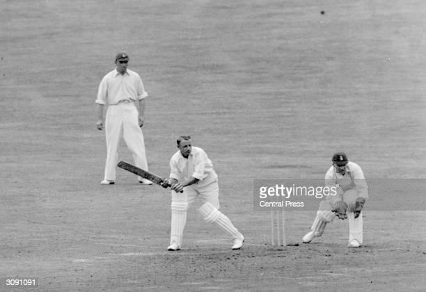 Sir Donald Bradman Australian cricketer batting during the Leeds Test Match where he broke the world record Sir Donald Bradman was the first...