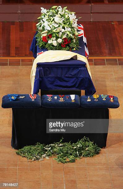 Sir Edmund Hillary lies in State at The Holy Trinity Catherdral before being moved into St Marys Church for the State Funeral on January 22 2008 in...