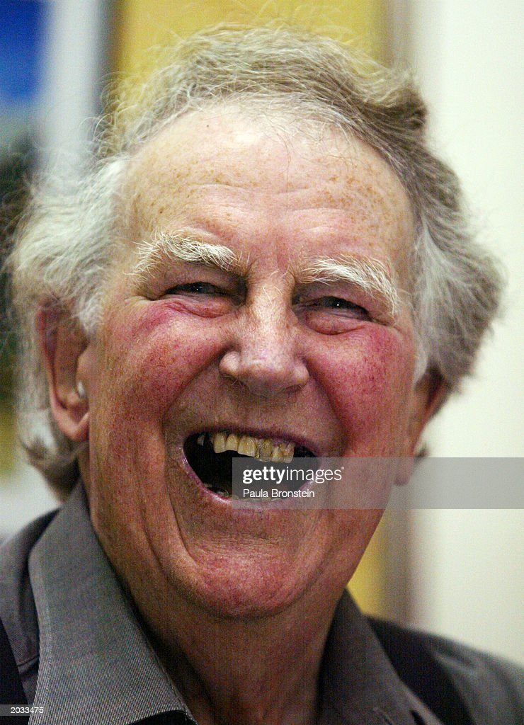 Sir Edmund Hillary, one of the first two men to climb Mount Everest, laughs at a press conference regarding the 50th anniversary of his ascent of the world's highest mountain May 28, 2003 at the British Embassy in Kathmandu, Nepal. Hillary and Sherpa Tenzing Norgay climbed the 29,035-foot Everest summit on May 29, 1953. This week marks the 50th anniversary of the first ascent of Mount Everest.