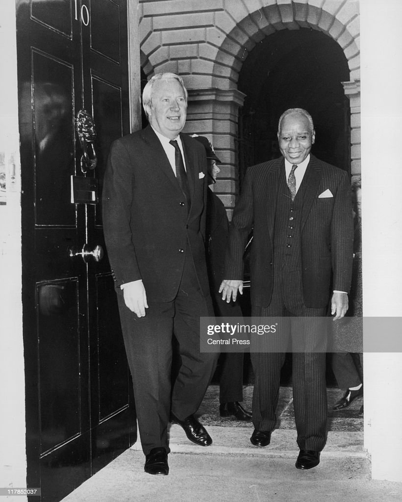 Sir Edward Heath British Conservative Prime Minister greeting President of Malawi Hastings Banda in the doorway of 10 Downing Street in London...