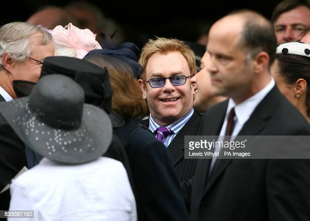 Sir Elton John after the Service of Thanksgiving for the life of Diana Princess of Wales at the Guards' Chapel London PRESS ASSOCIATION Photo Picture...