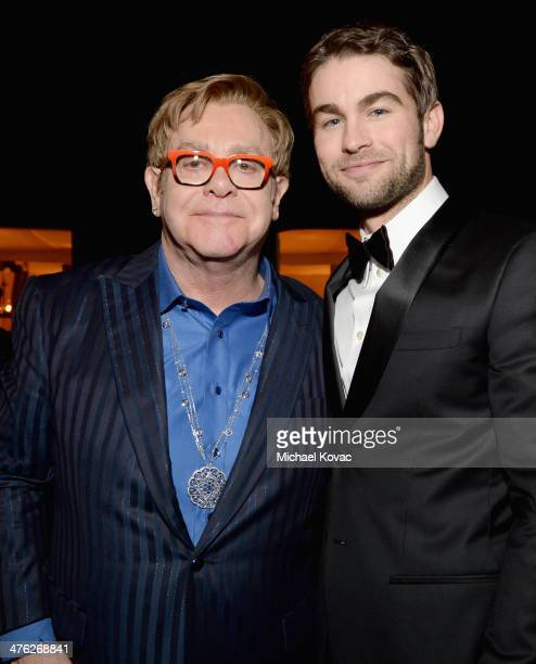 Sir Elton John and actor Chace Crawford attend the 22nd Annual Elton John AIDS Foundation Academy Awards Viewing Party at The City of West Hollywood...