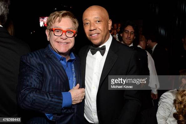 Sir Elton John and business magnate Russell Simmons attend the 22nd Annual Elton John AIDS Foundation Academy Awards Viewing Party at The City of...