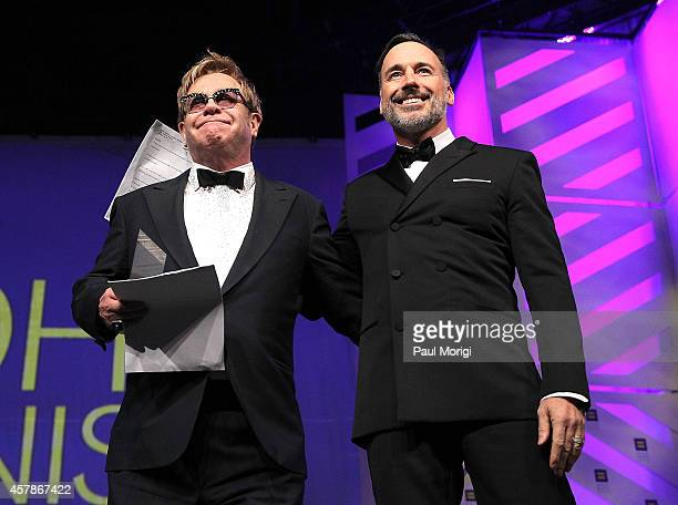 Sir Elton John and David Furnish are honored with HRC's National Equality Award at the 18th Annual HRC National Dinner at The Walter E Washington...