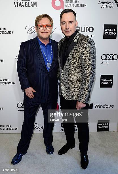 Sir Elton John and David Furnish arrive for the 22nd Annual Elton John AIDS Foundation's Oscar Viewing Party held at West Hollywood Park on March 2...