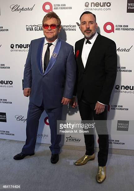 Sir Elton John and David Furnish attend the 23rd Annual Elton John AIDS Foundation's Oscar Viewing Party on February 22 2015 in West Hollywood...