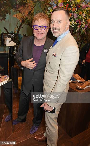 Sir Elton John and David Furnish attend the LATHBRIDGE by Patrick Cox presentation and official launch during London Collections Men SS16 at Sketch...
