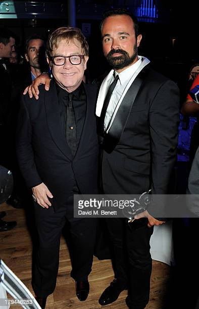 Sir Elton John and Evgeny Lebedev attend an after party following the GQ Men of the Year awards at The Royal Opera House on September 3 2013 in...