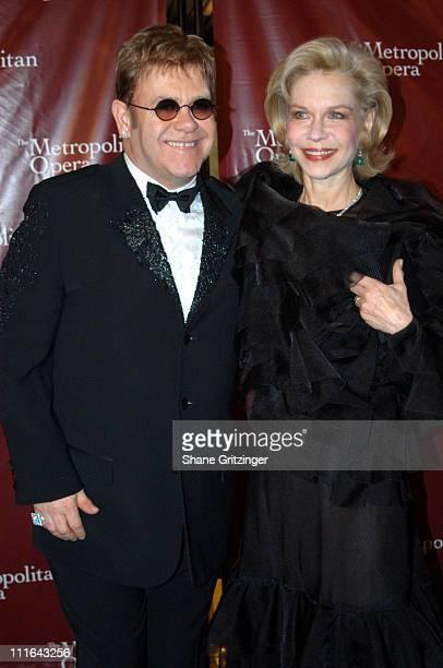 Sir Elton John and Lynn Wyatt during Opening Night of The Metropolitan Opera House at The Metropolitan Opera House Lincoln Center in New York City...