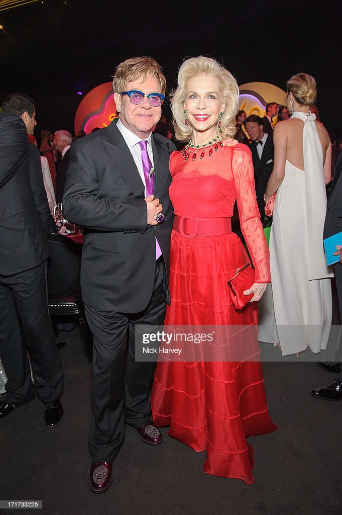 Sir <a gi-track='captionPersonalityLinkClicked' href=/galleries/search?phrase=Elton+John&family=editorial&specificpeople=171369 ng-click='$event.stopPropagation()'>Elton John</a> and Lynne Wyatt attend the 15th Annual White Tie and Tiara Ball to Benefit <a gi-track='captionPersonalityLinkClicked' href=/galleries/search?phrase=Elton+John&family=editorial&specificpeople=171369 ng-click='$event.stopPropagation()'>Elton John</a> AIDS Foundation in Association with Chopard at Woodside on June 27, 2013 in Windsor, England. No sales to online/digital media worldwide until the 14th of July. No sales before July 14th, 2013 in UK, Spain, Switzerland, Mexico, Dubai, Russia, Serbia, Bulgaria, Turkey, Argentina, Chile, Peru, Ecuador, Colombia, Venezuela, Puerto Rico, Dominican Republic, Greece, Canada, Thailand, Indonesia, Morocco, Malaysia, India, Pakistan, Nigeria. All pictures are for editorial use only and mention of 'Chopard' and 'The <a gi-track='captionPersonalityLinkClicked' href=/galleries/search?phrase=Elton+John&family=editorial&specificpeople=171369 ng-click='$event.stopPropagation()'>Elton John</a> Aids Foundation' are compulsory. No sales ever to Ok, Now, Closer, Reveal, Heat, Look or Grazia magazines in the United Kingdom. No sales ever to any jewellers or watchmakers other than Chopard.