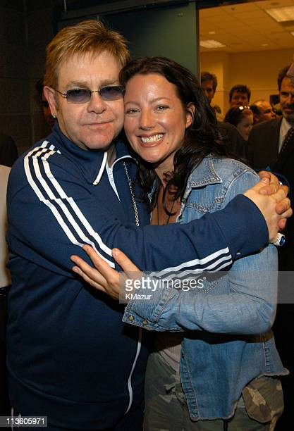 Sir Elton John and Sarah McLachlan during The Andre Agassi Charitable Foundation's 8th 'Grand Slam for Children' Fundraiser Press Conference at The...