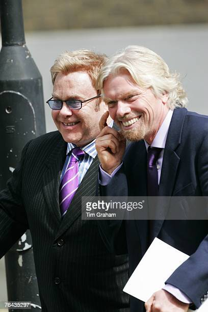 Sir Elton John and Sir Richard Branson attend the 10th Anniversary Memorial Service For Diana Princess of Wales at Guards Chapel at Wellington...