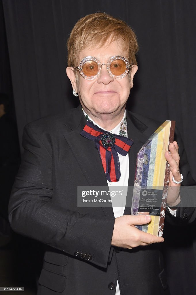 Sir Elton John attends the Elton John AIDS Foundation Commemorates Its 25th Year And Honors Founder Sir Elton John During New York Fall Gala at Cathedral of St. John the Divine on November 7, 2017 in New York City.