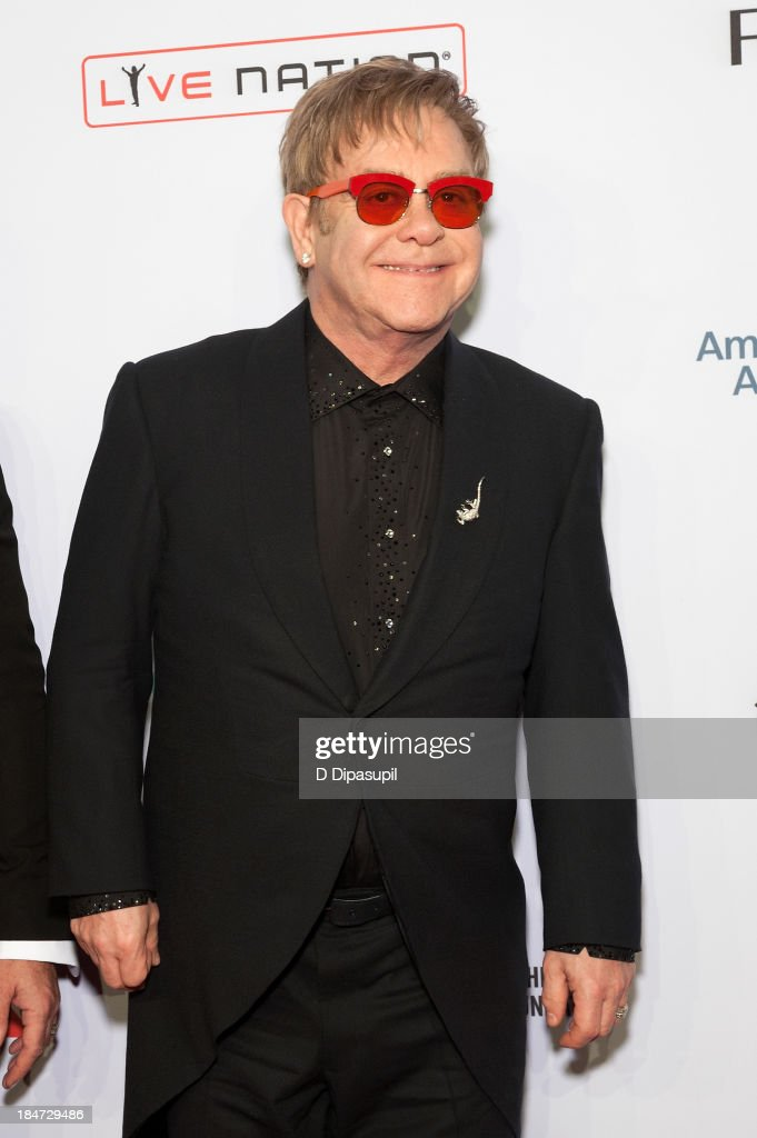 Sir <a gi-track='captionPersonalityLinkClicked' href=/galleries/search?phrase=Elton+John&family=editorial&specificpeople=171369 ng-click='$event.stopPropagation()'>Elton John</a> attends the <a gi-track='captionPersonalityLinkClicked' href=/galleries/search?phrase=Elton+John&family=editorial&specificpeople=171369 ng-click='$event.stopPropagation()'>Elton John</a> AIDS Foundation's 12th Annual An Enduring Vision Benefit at Cipriani Wall Street on October 15, 2013 in New York City.