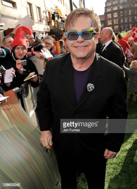 Sir Elton John attends the 'Gnomeo Juliet' premiere at Odeon Leicester Square on January 30 2011 in London England