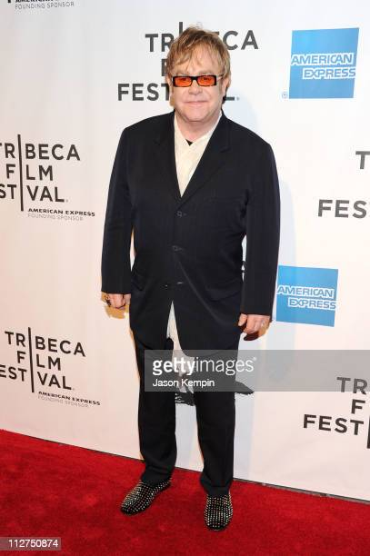 Sir Elton John attends the opening night premiere of 'The Union' at the 2011 Tribeca Film Festival at North Cove at World Financial Center Plaza on...