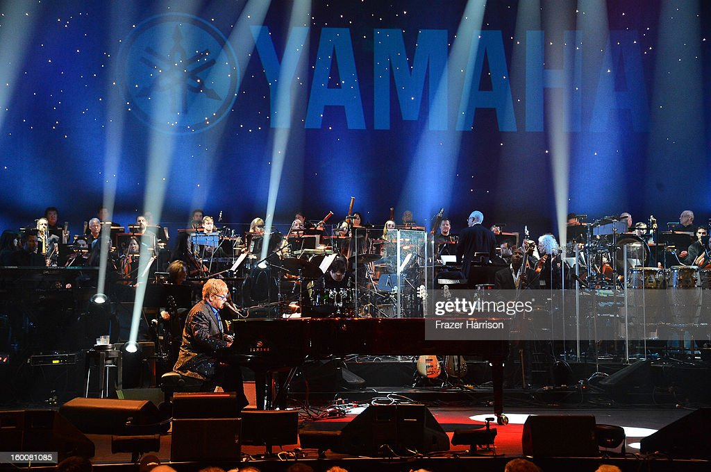 Sir <a gi-track='captionPersonalityLinkClicked' href=/galleries/search?phrase=Elton+John&family=editorial&specificpeople=171369 ng-click='$event.stopPropagation()'>Elton John</a> celebrating Yamaha's 125th Anniversary Live Around the World Dealer Concert performs at the Hyperion Theater on January 25, 2013 in Anaheim, California.