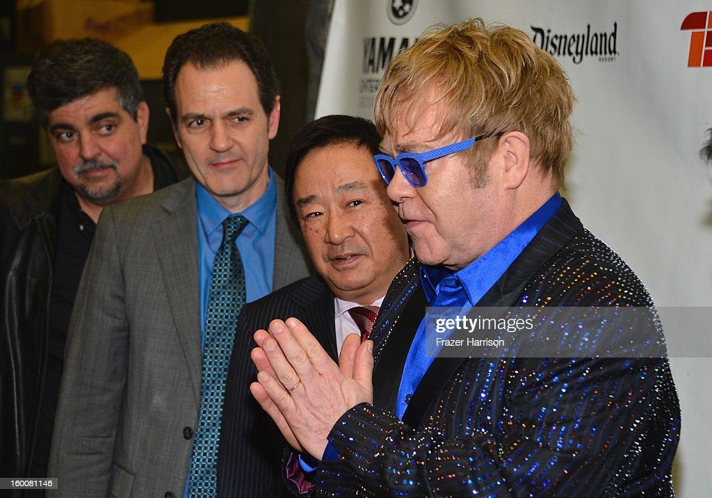 Sir <a gi-track='captionPersonalityLinkClicked' href=/galleries/search?phrase=Elton+John&family=editorial&specificpeople=171369 ng-click='$event.stopPropagation()'>Elton John</a> celebrating Yamaha's 125th Anniversary Live Around the World Dealer Concert at the Hyperion Theater on January 25, 2013 in Anaheim, California.