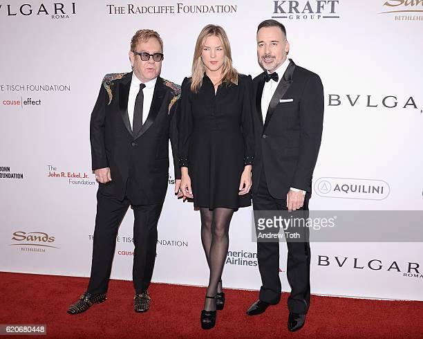 Sir Elton John Diana Krall and David Furnish attend 15th Annual Elton John AIDS Foundation An Enduring Vision Benefit at Cipriani Wall Street on...