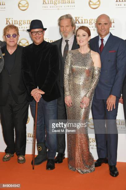 Sir Elton John director Matthew Vaughn Jeff Bridges Julianne Moore and Mark Strong attend the World Premiere of 'Kingsman The Golden Circle' at Odeon...