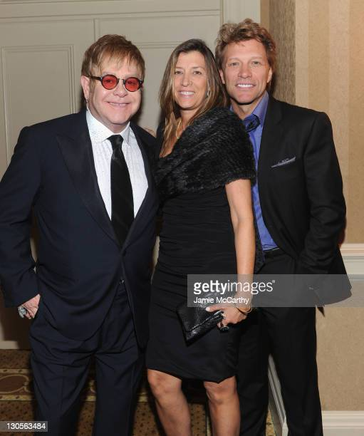 Sir Elton John Dorothea Hurley and Jon Bon Jovi attend the 10th Annual Elton John AIDS Foundation's 'An Enduring Vision' benefit at Cipriani Wall...
