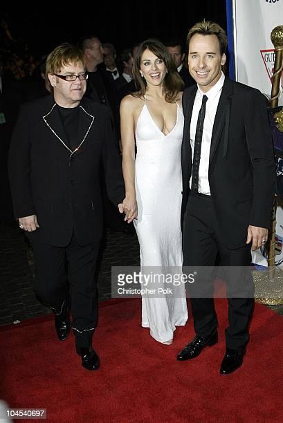 Sir Elton John Elizabeth Hurley and David Furnish
