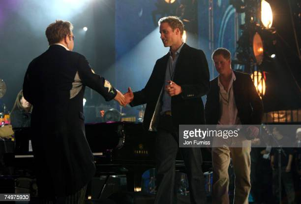 Sir Elton John HRH Prince Harry and HRH Prince William on stage during The Concert For Diana held at Wembley Stadium on July 1 2007 in London The...