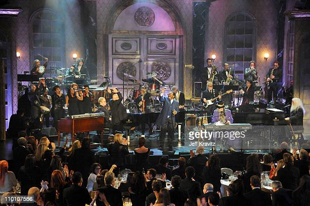 Sir Elton John musician Paul Shaffer musician Lloyd Price and inductees Dr John and Leon Russell perform onstage at the 26th annual Rock and Roll...