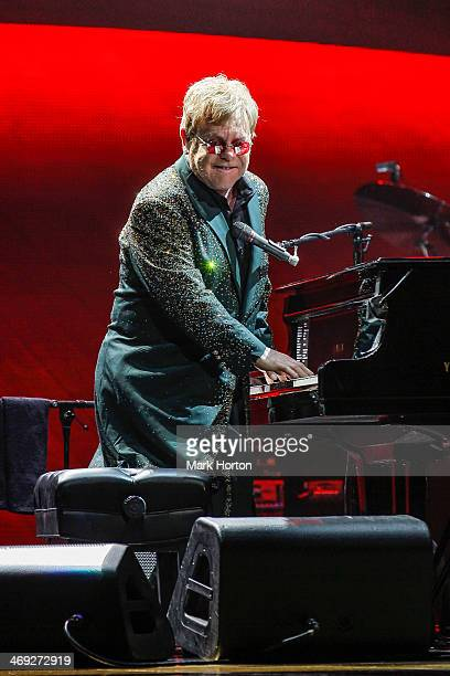 Sir Elton John performs live at the Canadian Tire Centre on February 13 2014 in Ottawa Canada