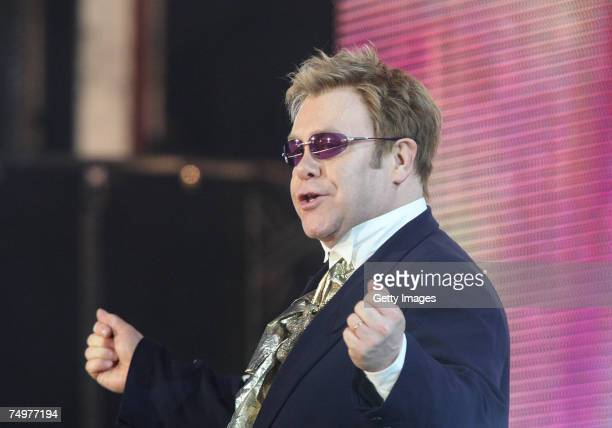 Sir Elton John performs on stage at the Concert for Diana at Wembley Stadium on July 1 2007 in London England The Concert falls on the date that...