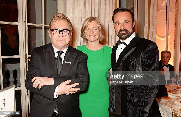 Sir Elton John Ruth Dundas and Evgeny Lebedev attend the Louis Dundas Centre Dinner at the Mandarin Oriental Hyde Park on November 26 2014 in London...