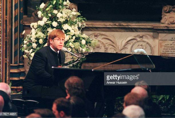 Sir Elton John sings 'Candle In The Wind' at the funeral of Diana Princess of Wales on September 6 1997